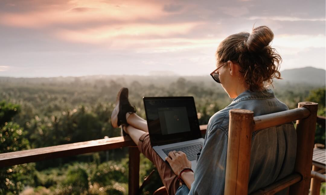 Women using laptop, keeping them connected